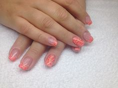 Orange gel nails with white stamps Gel Nails, Stamps, Orange, Beauty, Nail Gel, Seals, Beleza, Gel Nail, Cosmetology
