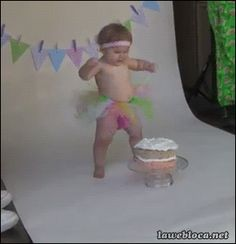(ANIMATED GIF): How photo shoots can go wrong in a blink of an eye (or a face plant in a cake)