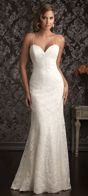 2013 Allure Bridal - White Lace & Charmeuse Low Back Wedding Dress Nice alternative to the same ol' strapless gown.