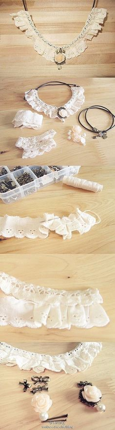 DIY Lace Collar crafts craft ideas easy crafts diy ideas diy crafts diy clothes easy diy fun diy craft clothes craft fashion fashion diy diy collar craft accessories teenager craffts