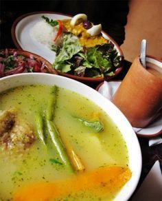Puka Rumi cazuela (a.k.a. chicken soup) and aji de gallina, Ollantaytambo. #Peru #Food