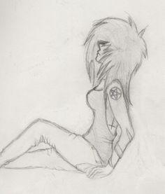 emo drawings - emo/scene girl. LUV DIS!!!