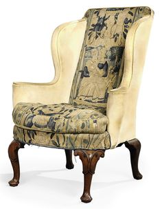 Early 18th Century Queen Anne Walnut Wing Armchair with 17th Century Tapestry