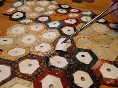 Heartspun Quilts ~ Pam Buda: Hexagon Tutorial My favorite tutorial on hexies!  4 parts.