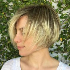Short Layered Blonde Balayage Bob