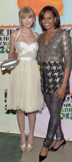 Taylor Swift and First Lady Michelle Obama at Kids Choice Awards - We have a fashionable First Lady. No denying it.