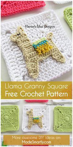 Llama Granny Square - Free Crochet Pattern #crochetpattern #crochet #crochetwrap #tutorial #grannysquare