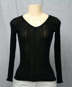 PIAZZA SEMPIONE Black V-Neck Sweater Knit Top Sz XS S Soft Sexy Ribbed | eBay