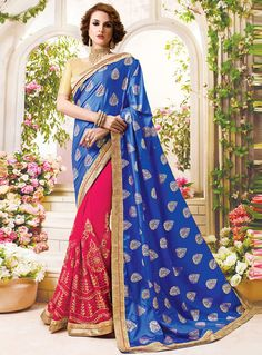 Blue Georgette Half N Half Saree 92719