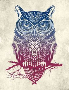 Colourful Owl Tattoo Concept - Tattoo Shortlist