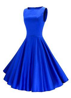 Anni Coco Women's Classic 1950s Vintage Hepburn Dresses Blue Large