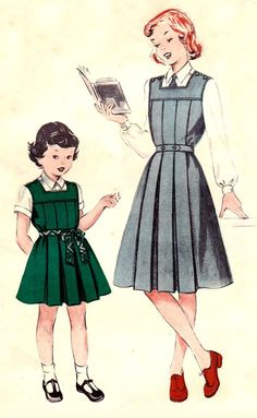 Butterick 516; circa 1950s; Girls' one piece pleated gym tunic. She'll enjoy the comfort of this #gym_slip that's been action-tested. Tunic buttons at the shoulders. Cut-out square yoke tops the bodice, both front and back. Inverted pleats fall straight from the yoke.