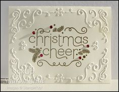 Cheerful Christmas, embossing = Cased straight from the 2014 Holiday Mini Catalog Stamped Christmas Cards, Simple Christmas Cards, Christmas Paper Crafts, Homemade Christmas Cards, Noel Christmas, Xmas Cards, Homemade Cards, Holiday Cards, Christmas 2017