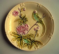 Lovely antique majolica plates with love bird by Frenchpleasures