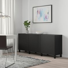 BESTÅ Storage combination with doors, black-brown, Stockviken/Stubbarp anthracite - IKEA Black Tv Console, Black Sideboard, Acoustic Ceiling Tiles, Types Of Ceilings, Soft Closing Hinges, Frame Shelf, Ikea Storage, Record Storage, Storage Cabinets