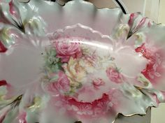 R s Prussia Celery Dish Roses Mold Antique Double Handle Flowers Luster | eBay