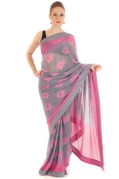 C Bazaar Flower Embroidered Saree from Ritzy on brandmile