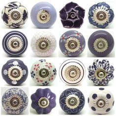 Purple Lilac White Ceramic Door Knobs by Love Handle Furniture Drawer Pulls