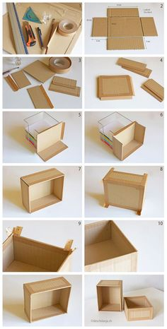 Karton-Recycling: Schachtel selber machen Instead of throwing cardboard packaging away, you can alsoCaja de cartón How to make your own cardboard box, www.You can use this box to cover with fabric for pretty organization and storage. How to make your own Cardboard Recycling, Cardboard Storage, Cardboard Crafts, Paper Crafts, Cardboard Boxes, Diy Storage Boxes, Cardboard Playhouse, Cardboard Organizer, Diy Cardboard Furniture
