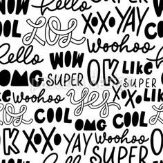 Youth Slang Seamless Vector Pattern by Anastasiia Gevko at patterndesigns.com Custom Printed Fabric, Printing On Fabric, Vector Pattern, Pattern Design, White Ink, Black And White, Doodle Lettering, Monochrome Pattern, Ink Illustrations