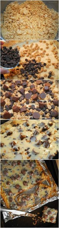 Reese's Peanut Butter Cup Cookie Bars ~ so delicious & easy to make. They are so much faster than making individual cookies. Just put it all in the pan and bake. (look yummy) Peanut Butter Cup Cookies, Reeses Peanut Butter, Just Desserts, Delicious Desserts, Yummy Food, Dessert Healthy, Eat Dessert First, Dessert Bars, Cookie Recipes
