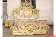European classical& antique wooden luxury bedroom set, king size bed, dresser, with gold plated,hand carving / China Beds for sale