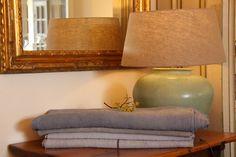 Beautiful linen...great colors... Decor, Table, Beautiful Linens, Linen, Table Lamp, Grain Sack, Home Decor, Color, Lamp Shade