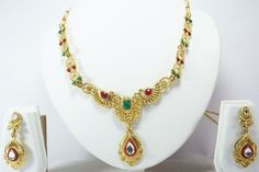 INDIAN BOLLYWOOD GOLD TONE NECKLACE PENDANT EARRINGS SET WOMEN FASHION  JEWELRY #Handmade