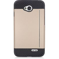 EGC LG Optimus L70 (Exceed 2) Case TPU Card Stand - Gold/Black