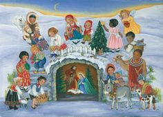 Vermont Christmas BB8015X Global Christmas Advent Calendar 5 Pack. Pack of 5 traditional Advent calendars (same). Celebrity diversity with this unique design. Children from around the world are gathered around the Nativity scene. Prepare for Christmas by opening a window each day during Advent to reveal a special picture. The front is accentuated with glitter and bible text that follows the story of the Nativity is presented on the back of each window. This Advent calendar measures 11 .75…