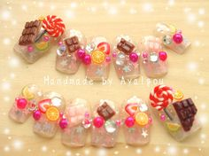 Decoden Japanese 3D nails kawaii fake sweets nail art by Aya1gou, $23.50