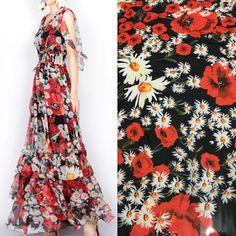 rose sunflowers print silk chiffon fabric 98623f0a9ec9