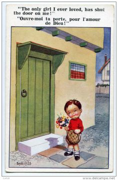 CPA Illustrateur Gill Ronald - ENFANT - Ouvre Moi Ta Porte