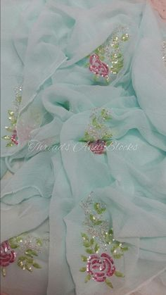 Discover thousands of images about Pure chiffon sequin roses saree Hand Embroidery Dress, Embroidery Suits Design, Couture Embroidery, Embroidery Fashion, Hand Embroidery Designs, Beaded Embroidery, Zardosi Embroidery, Wedding Embroidery, Simple Embroidery