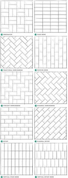 Kitchen backsplash tile or shower tile pattern ideas. Kitchen backsplash tile or shower tile pattern ideas. Bad Inspiration, Bathroom Inspiration, Travel Inspiration, Subway Tile Patterns, Shower Tile Patterns, Brick Patterns, Tile Laying Patterns, Kitchen Floor Tile Patterns, Laying Tile