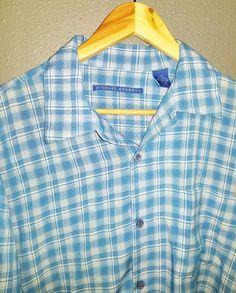 0b584dc71991e2 MICHAEL BRANDON Short Sleeve Button Front Shirt Multi Color Size Large A05