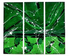 """""""Grün / Green"""" Acryl on canvas 3 pieces á 30 x 80 cm Painting Canvas, Triptych, Plant Leaves, Abstract Art, Green, Plants, Abstract, Kunst, Pictures"""