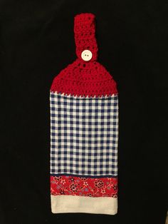 Crocheted Top Dish Towel - Red, White, and Blue Gingham Check and  Floral by HandMadeInMadison on Etsy
