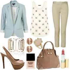 A cute simple summer outfit for the office. Minus the horrid flower top n plastic ring! :S