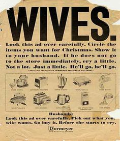 Vintage appliance ad. Not sure this would go down so well these days