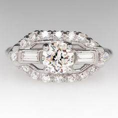 Antique Engagement Ring 1930s w/ Old Euro Diamond Platinum