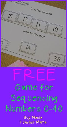 Teacher Mama: FREE Games for Sequencing Numbers 0-40 {After School Linky}
