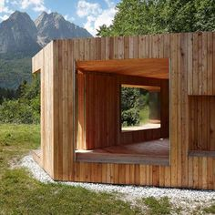Wooden Folly With Mirrored Shutters In The Mountains Of Southern Germany By  Berlin Studio Baumhauer.