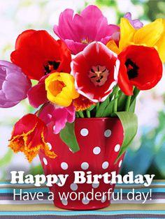 Cheerful Tulip Happy Birthday Card