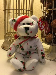 Retired beanie baby bear  holiday bear by JRaesBoutique on Etsy