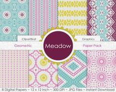 Meadow YELLOW PINK & AQUA Digital Paper Pack by ClipArtBrat