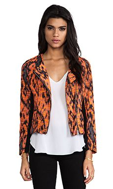 MM Couture by Miss Me Printed Jacket in Black & Orange | REVOLVE
