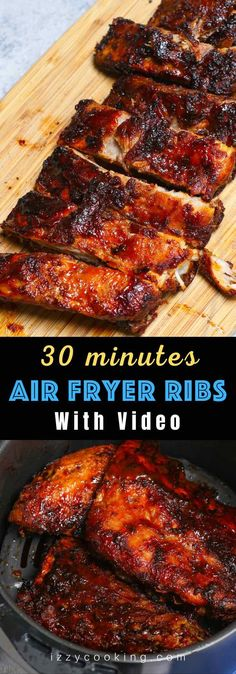 These are the best Air Fryer Ribs – so tender, crispy, and flavorful but not fall-off-the-bone! It's a super easy recipe that takes 30 minutes to make. Baby back ribs are seasoned with a simple dry rub, and then cooked in the air fryer, finally coated with a homemade sticky barbecue sauce. They are juicy, finger-licking delicious pork ribs and so addictive! #AirFryerRibs #AirFryerPorkRibs #AirFryerBabyBackRibs Bbq Ribs, Pork Ribs, Bbq Sauce Ingredients, Healthy Recipes, Quick Recipes, Amazing Recipes, Delicious Recipes, Air Fryer Recipes Easy, Good Food