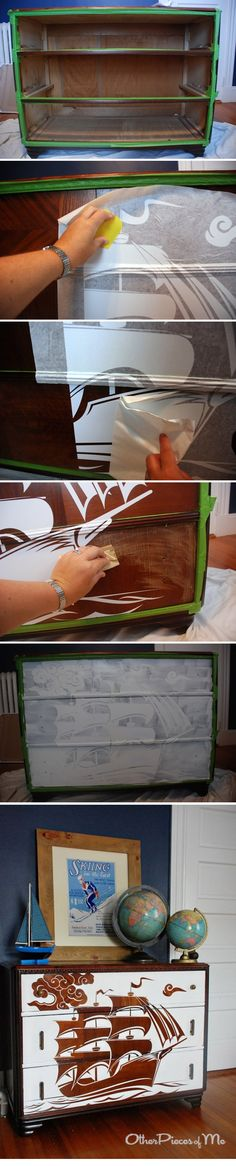 DIY  ::  Reverse Stencil Dresser  :: apply decal, lightly sand,  apply primer & paint, remove the decal  ( http://www.flor.com/blog/reverse-stencil-dresser/ )