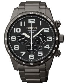 Seiko Men's Chronograph Solar Black Ion-Plated Stainless Steel Bracelet Watch 45mm SSC231 | macys.com